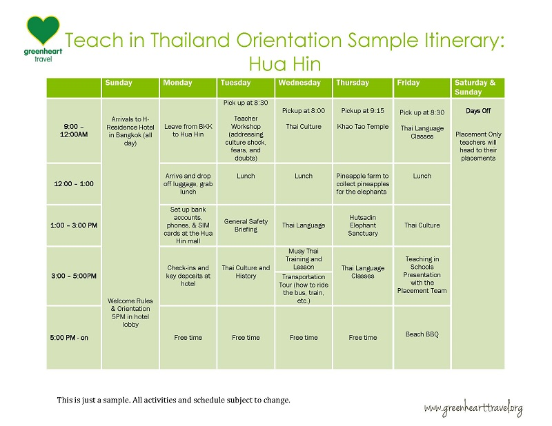 Sample Itinerary - Orientation Hua Hin 2
