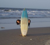 Language Exchange Brazil students with surfboard