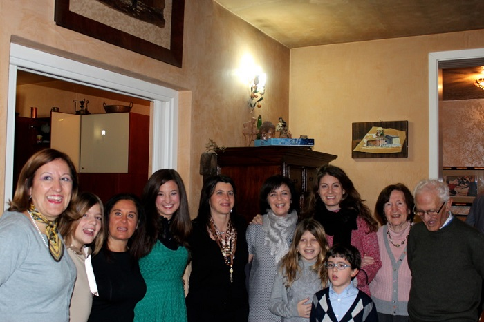 Homestay Teacher Ashley Bornancin (fourth from left) with her whole Italian host family