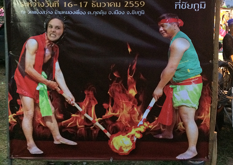 An advertisement for fire hockey in Thailand.