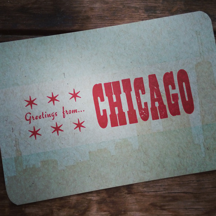A greetings from Chicago postcard.