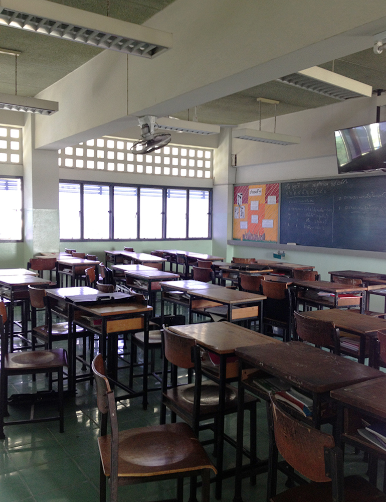 An empty classroom in Thailand.