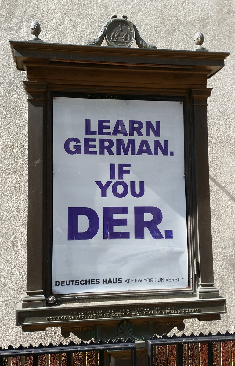 A learn German sign.