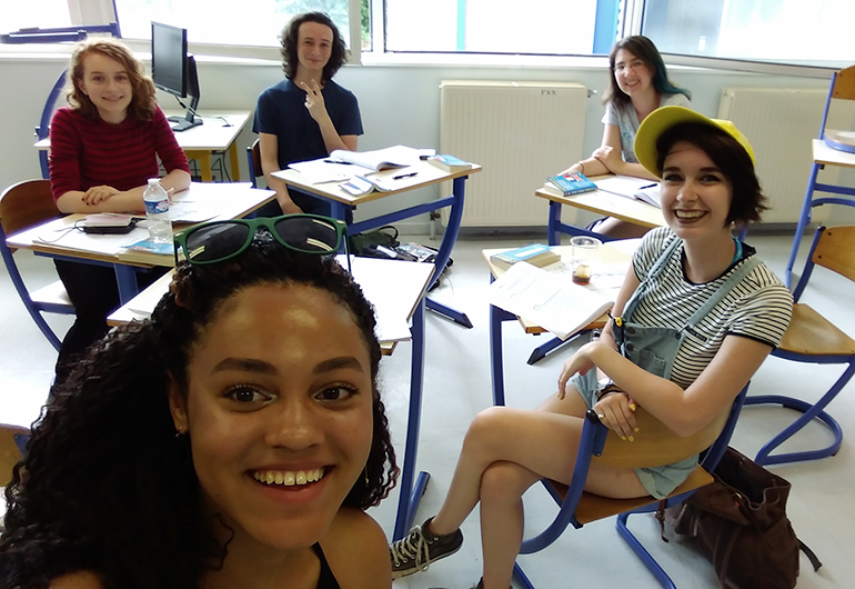 Students studying French in Paris.