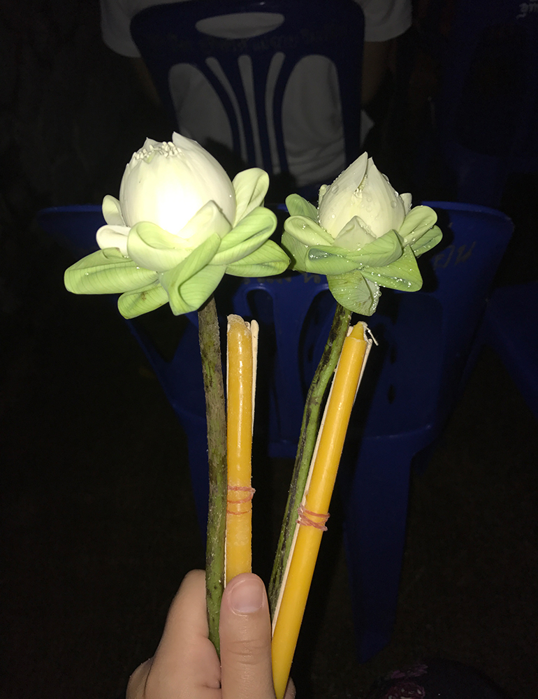 Lotus flowers and candles from a Buddhist celebration in Thailand.
