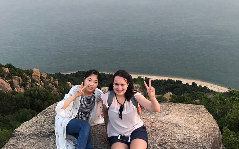 Greenheart Traveler, Maggie, and her host sister enjoy the beautiful scenery Japan has to offer.