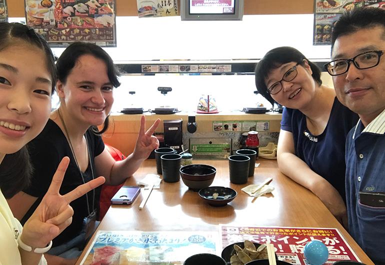 Greenheart Traveler, Maggie, with her Japanese host family.