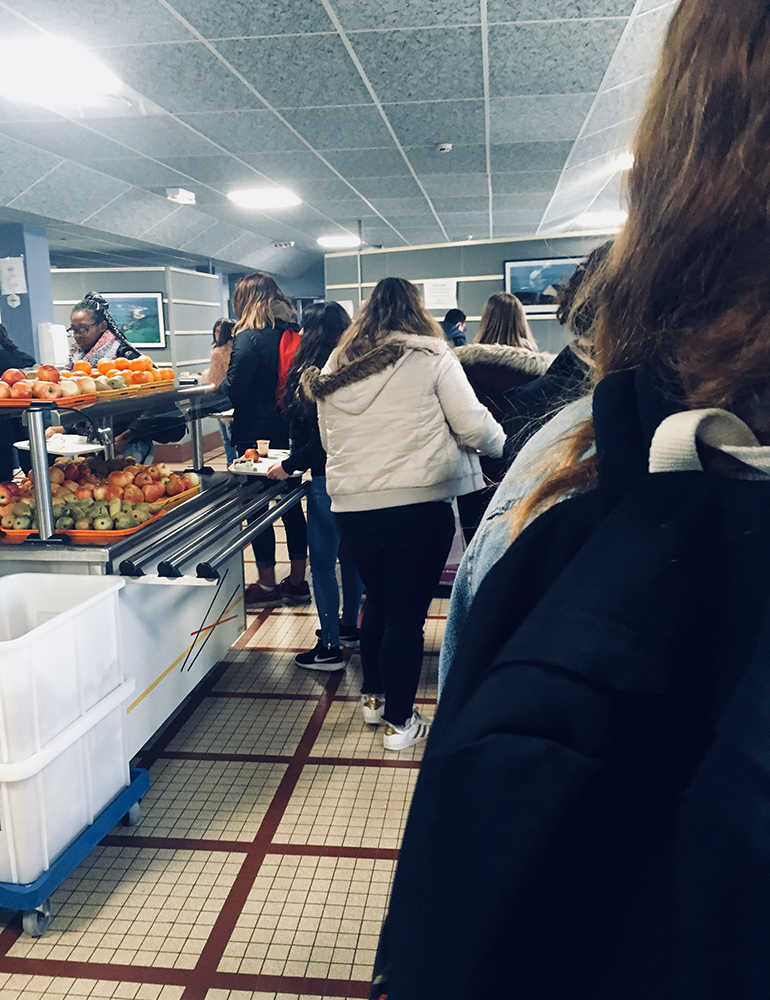 In line for lunch in France
