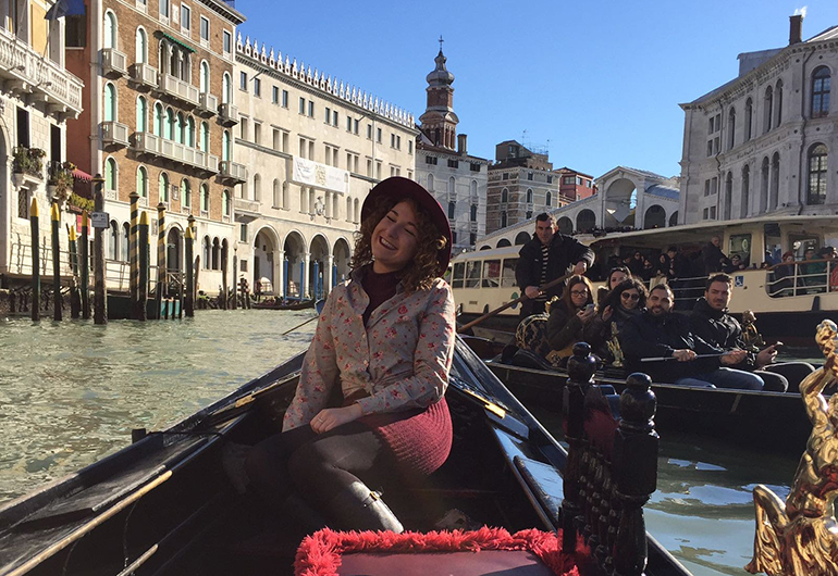 Mikaela on a gondola ride in Venice during Carnivale.