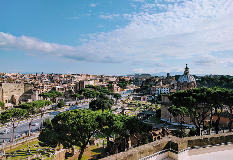 The skyline of Rome, Italy on a beautiful sunny day.