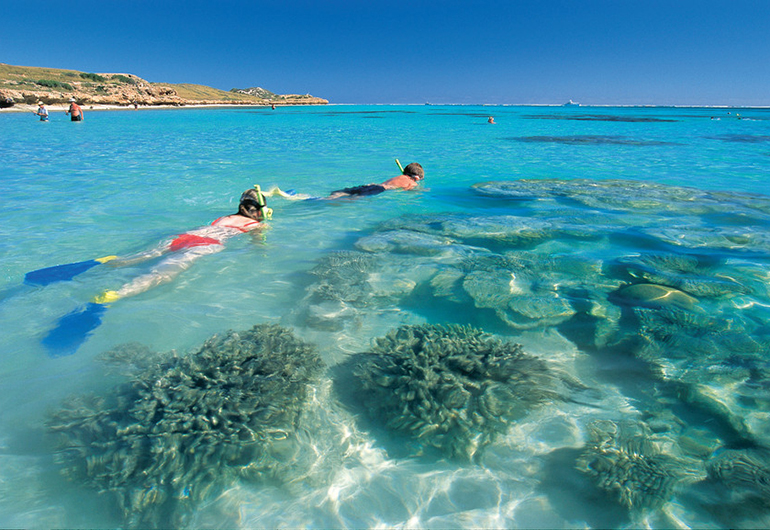 Students snorkeling in Ningaloo Marine Park, near Coral Bay in Australia.