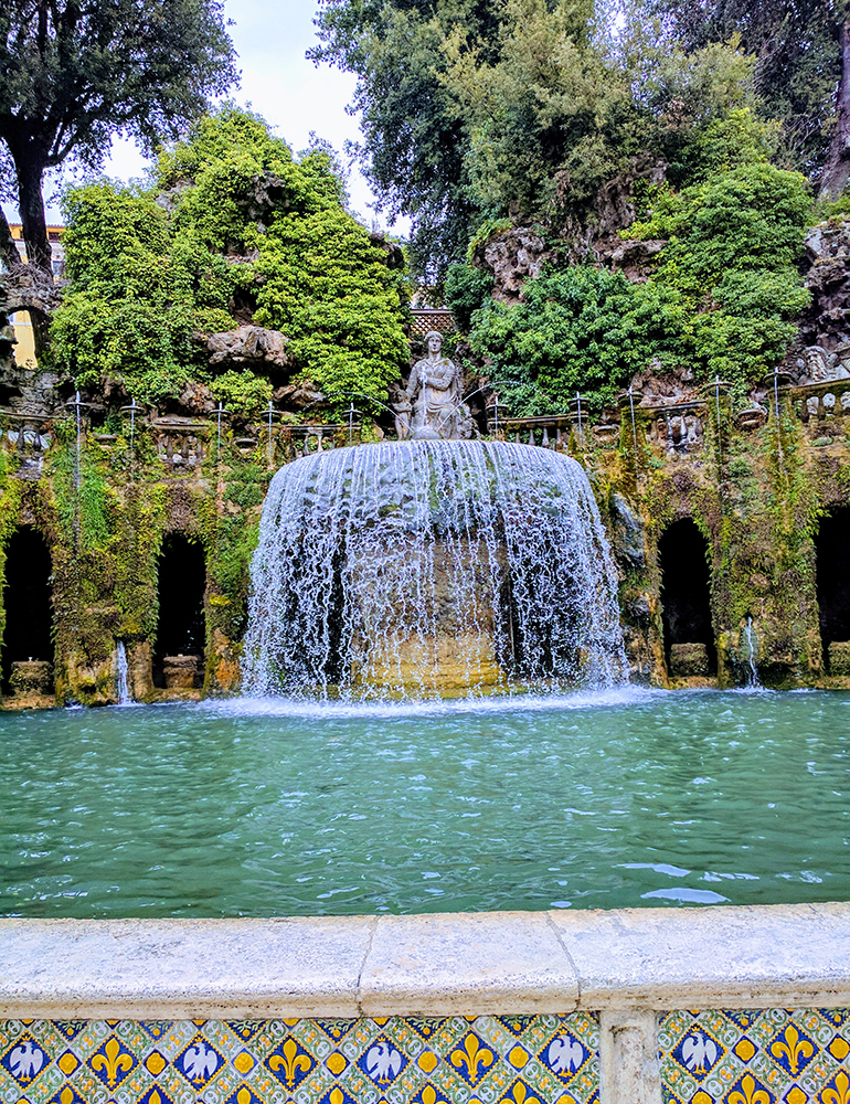 A fountain in Tivoli Gardens outside of Rome, Italy.
