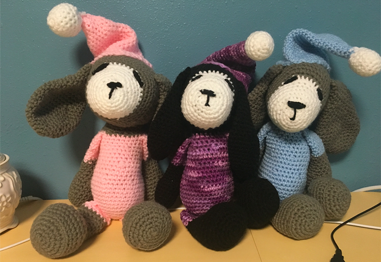 The three crocheted dogs Emily made for her host family's daughters.